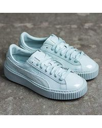 25dd07914199 Lyst - Puma Basket Platform Patent Women Us 7 Blue Fashion Sneakers ...