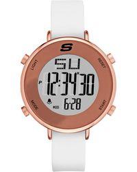 Skechers Quartz Metal And Silicone Casual Watch, Color:white (model: Sr6066) - Multicolor