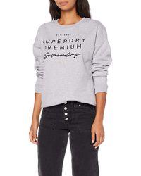 Superdry Sweatshirt »APPLIQUE CREW« mit edler Logoapplikation - Grau