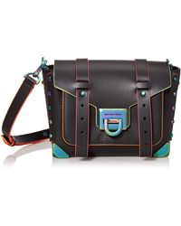 Michael Kors Hattan Small Contrast-trim Leather Crossbody Bag - Black
