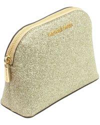 Michael Kors Beauty case da viaggio in pelle glitterata Oro Oro chiaro. small - Metallizzato
