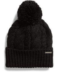 Michael Kors Michael `s Pom Pom Cable Knit Beanie - Black