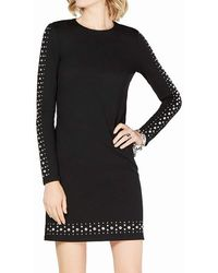 Michael Kors S Black Long Sleeve Crew Neck Mini Sheath Dress Petites