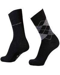 Tom Tailor Doppelpack Strümpfe Socken Rauten Design uni - Schwarz