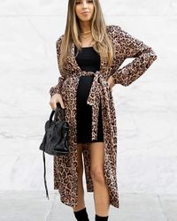 The Drop Leopard Print Oversized Duster By @sivanayla - Brown