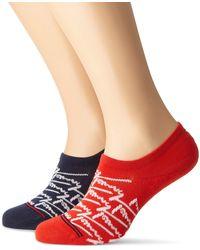 Tommy Hilfiger TH Jeans Footie 2p Handwrite conjunto bufanda - Rojo
