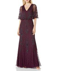Adrianna Papell Beaded Blouson Gown - Purple