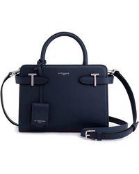 Le Tanneur , petit sac à main, sac bandoulière, en cuir, femme, porté main, épaule, croisé, bandoulière amovible et ajustable, 2 - Bleu
