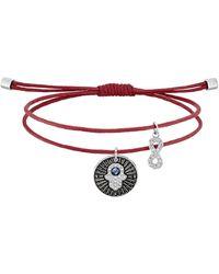 Swarovski Bracelet unisexe en acier inoxydable avec main de Hamsa - Rouge