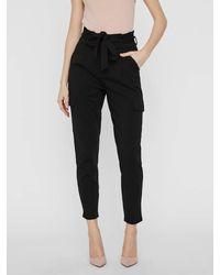 Vero Moda Vmeva HR Paperbag Cargo Pocket Pants LCS Pantaloni - Nero