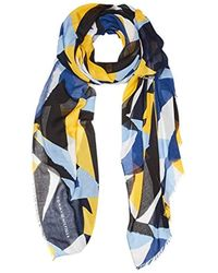 Tommy Hilfiger - Printed Colorblock Scarf Scarf, Blue (blue Mix 901), One Size (manufacturer Size: Os) - Lyst