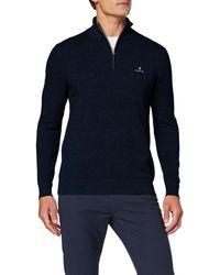 GANT Cotton Pique Half Zip Pullover - Blau