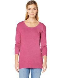 Amazon Essentials Lightweight Long-sleeve Scoopneck Tunic Sweater - Pink