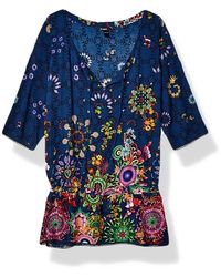 Desigual Top Swimwear Melina Woman Blue Blouse Femme - Bleu