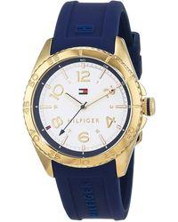 Tommy Hilfiger Datum klassisch Quarz Uhr mit Silikon Armband 1781795 - Blau