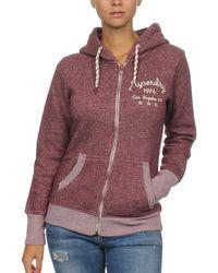 Superdry Zipper Rylee Embroidered Desert Burgundy - Lila
