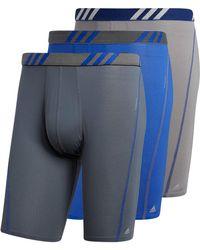 adidas Sport Performance Mesh Long Boxer Brief Underwear - Blue