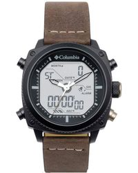 Columbia Ridge Runner Stainless Steel Quartz Watch With Leather Strap - Brown