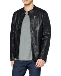 Guess Quilted Eco Leather Jacket - Black