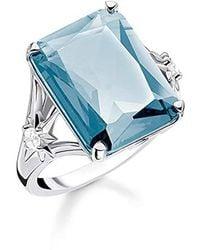 Thomas Sabo Ring Stein Blau groß mit Stern 925 Sterlingsilber, Geschwärzt TR2261-644-31