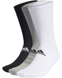 adidas 3 Pack Socks Crew Length Golf Primegreen Supportive Mid-foot Compression - Black