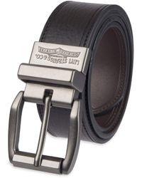 Levi's Leather Reversible Belt with Logo on Buckle-Black/Tan - Noir