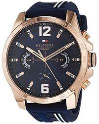 Tommy Hilfiger Reloj Multiesfera para Hombre de Cuarzo con Correa en Silicona 1791474 - Azul
