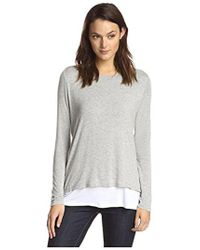 James & Erin - Long Sleeve Contrast Layered Top - Lyst