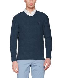 Tommy Hilfiger Pre-Twisted Ricecorn Vneck suéter - Azul
