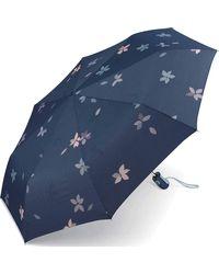 Esprit Taschenschirm Easymatic Light Flower Rain - Blue - Blau