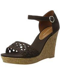24f24b4d74f Steve Madden Catlyn Suede Platform Wedge Sandals in Black - Lyst