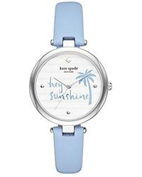 Kate Spade - Kate Spade Watches Silver-tone And Blue Leather Varick Watch - Lyst