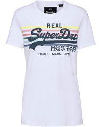 Superdry Vintage Logo Rodeo Rainbow Stripe T-Shirt Optic M - Blanc