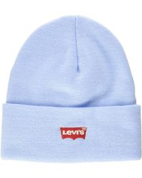 Levi's Red Batwing Embroidered Slouchy Beanie Bonnet - Bleu