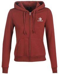Converse Star Chevron Embroidered FZ Hoodie Sweatshirts und Fleecejacken Femmes Bordeaux - M - Sweatshirts - Rot