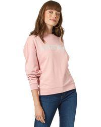 Wrangler Womens Vintage Logo Crew Neck Sweatshirt Shirt - Pink