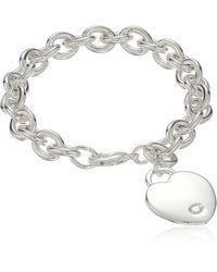 "Guess ""basic"" Silver G Logo Heart Link Bracelet - Metallic"
