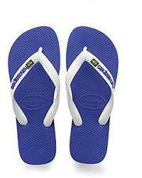 Havaianas - Marine Blue Brasil Logo Flip Flops - Lyst