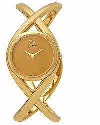 Calvin Klein - K2l23509 Enlace Analog Display Swiss Quartz Gold Watch - Lyst