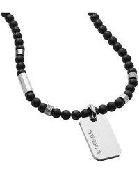 DIESEL Stainless Steel Pendant Necklace Dx1157040 - Black