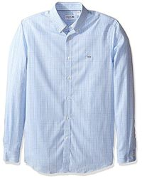 Lacoste - City Long Sleeve Stretch End Check Dress Shirt, Ch9854-51 - Lyst