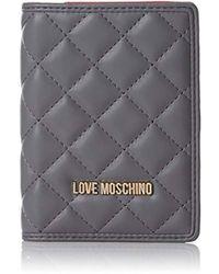 Love Moschino Damen Portafogli Nappa Pu Grigio Clutch, grau (Grey), 1 x 14 x 10 cm
