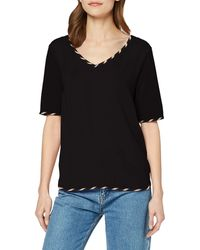 Scotch & Soda - V-Neck Tee with Woven Front Panel And Bindings T-Shirt - Lyst