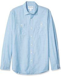 Amazon Essentials Camicia da uomo a maniche lunghe in chambray - Blu