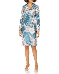 Tahari Jaquard 4 Button Jacket And Skirt Set - Blue
