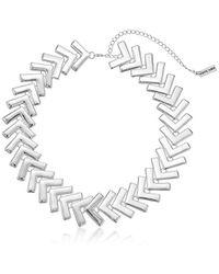 "Steve Madden - Snake Textured Fringe Statement Collar Necklace, 18"" With 3"" Extender - Lyst"