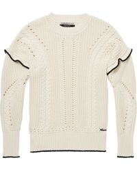 Scotch & Soda Maison Pullover Pull with Ruffle und Cable Detailling - Natur