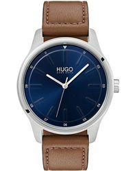 HUGO S Analogue Classic Quartz Watch With Leather Strap 1530029 - Brown