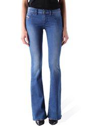 DIESEL Livier Flare 0673V Donna Pantaloni Jeans Super Slim Flare - Blu