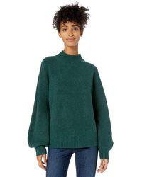 Goodthreads - Boucle Half-Cardigan Stitch Balloon-Sleeve Sweater - Lyst